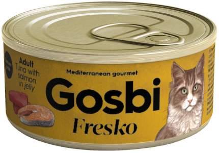 Консервы для кошек Gosbi Fresko Adult, беззерновые, с тунцом и лососем в желе, 32шт по 70г