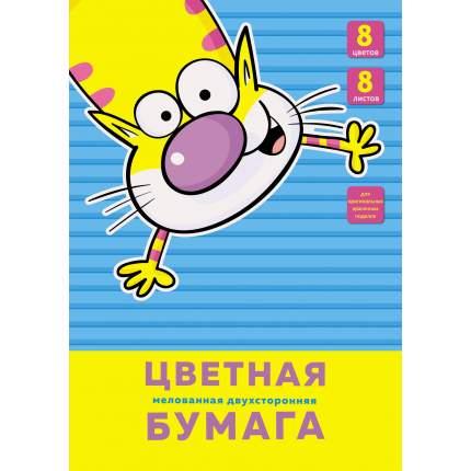 """Цветная бумага Unnika land """"Веселый кот""""  А4  двухсторонняя"""