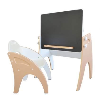 Набор мебели Интехпроект День-ночь парта-мольберт, жемчужный персик