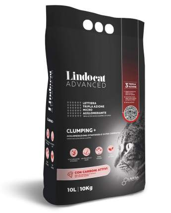 Комкующийся наполнитель для кошек Lindocat бентонитовый, угольный, 10 кг, 10 л,