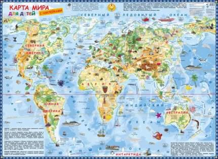 Карта мира для детей с наклейками