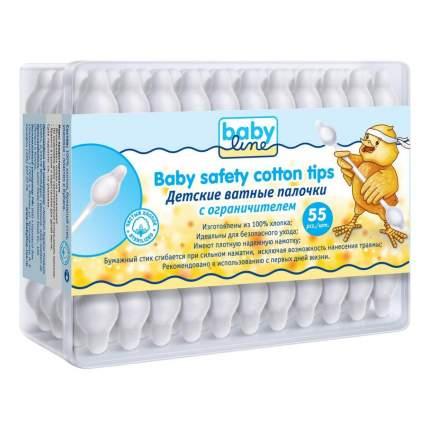 Детские ватные палочки babyline с ограничителем в пластиковом боксе, 55 шт