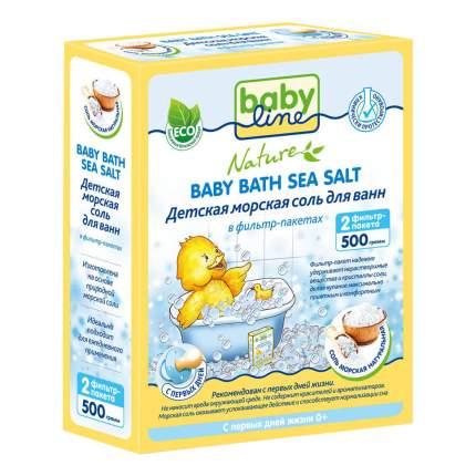 Детская морская соль для ванн babyline 500 г натуральная