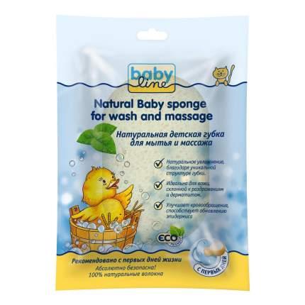Натуральная детская губка babyline для мытья и массажа