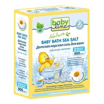 Детская морская соль для ванн babyline с ромашкой, 500 г