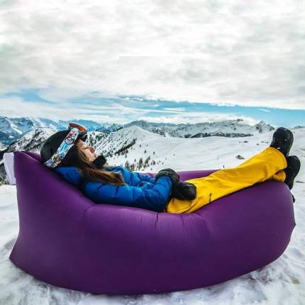 Надувной диван лежак Baziator P0070G с карманом и колышком 240x70 см green