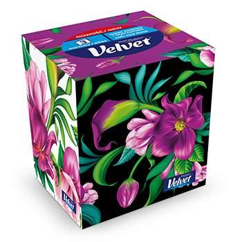 Салфетки косметические Velvet трехслойные универсальные 60 шт в карт. коробке Польша