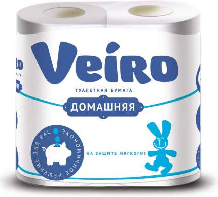 Туалетная бумага Veiro Домашняя 2-ух слойная 4 шт