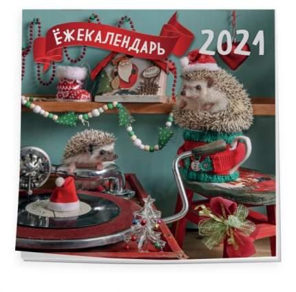 Ёжекалендарь (патефон и гирлянда). Календарь настенный на 2021 год (300х300)