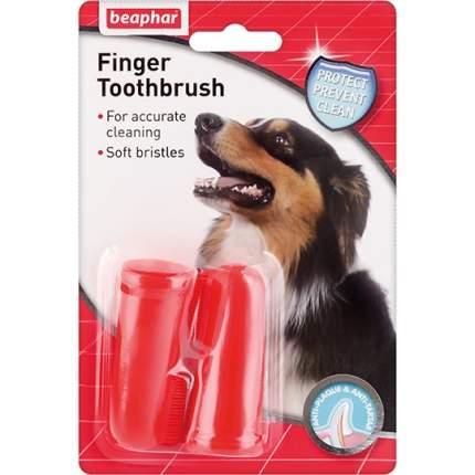 Зубная щетка на палец для собак Beaphar, красный, 2 шт, 6.5 см