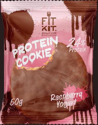 Протеиновое печенье в шоколаде Fit Kit Chocolate Protein Cookie, малиновый йогурт, 50г