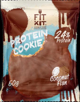 Протеиновое печенье в шоколаде Fit Kit Chocolate Protein Cookie, кокосовый флан, 50г
