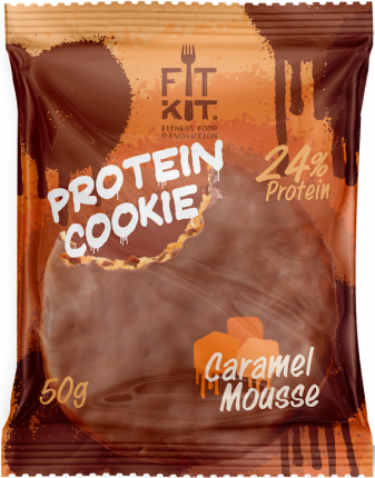 Протеиновое печенье в шоколаде Fit Kit Chocolate Protein Cookie, карамельный мусс, 50г
