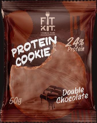 Протеиновое печенье в шоколаде Fit Kit Chocolate Protein Cookie, двойной шоколад, 50г