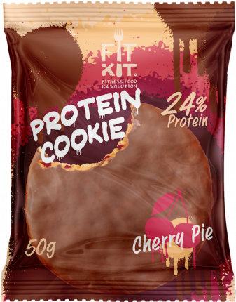 Протеиновое печенье в шоколаде Fit Kit Chocolate Protein Cookie, вишневый пирог, 50г