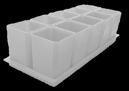 Набор горшков для рассады, 10 стаканов по 750 мл на поддоне (белый)