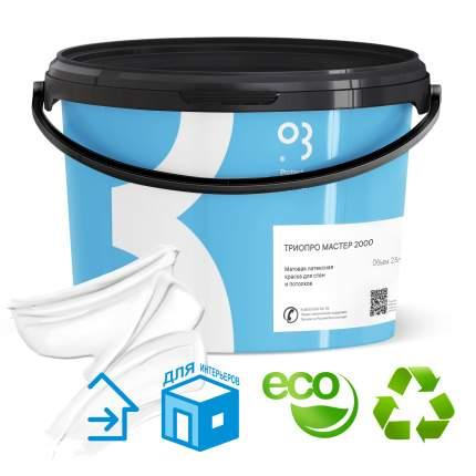 Краска для стен и потолков интерьерная латексная ТРИОПРО Мастер 2000 без запахов 2,5 л