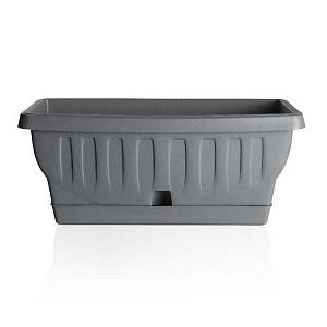 """Балконный ящик с поддоном """"Натура. GRIGIO"""", 40 см (серый)"""