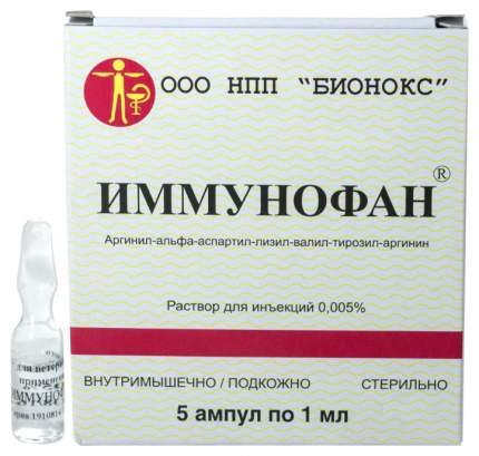Лекарственный препарат для кошек и собак БИОНОКС Иммунофан ампула 1 мл