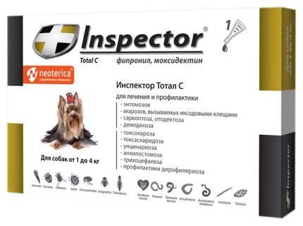 Капли для собак против блох, власоедов, вшей, клещей Inspector, до 4 кг, 1 пипетка, 0,4 мл