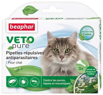 Капли для кошек против блох, клещей, комаров Beaphar VETO pure, 3 пипетки, 1 мл