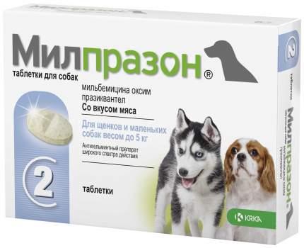 Антигельминтик для щенков и собак KRKA Милпразон, 2 таблетки
