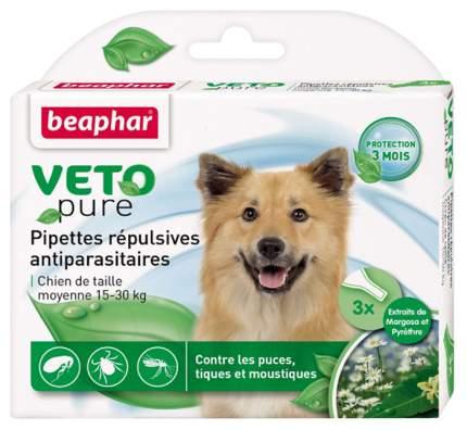 Капли для средних собак против блох, клещей, комаров Beaphar VETO pure, 3 пипетки, 2 мл