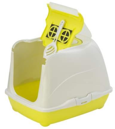 Туалет для кошек MODERNA Flip Cat, прямоугольный, желтый, белый, 50х39х37 см