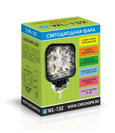 Светодиодная фара ВЫМПЕЛ WL-132S дальн. свет, кв. мет. корп. 9 LED по кругу, 27W