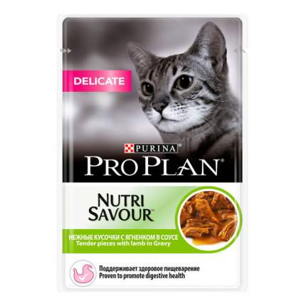 Влажный корм для кошек PRO PLAN Nutri Savour Delicate, ягненок, 85г