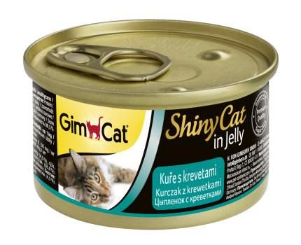 Консервы для кошек GimPet ShinyCat, цыпленок с креветками, 70г