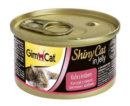 Консервы для кошек GimPet ShinyCat, цыпленок с крабом в желе, 70г