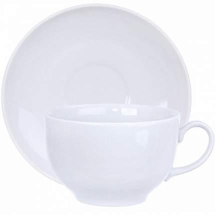 Чашка чайная с блюдцем Дулево Янтарь Белая, 210 мл., фарфор