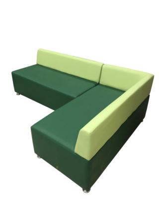 Диван угловой, Мягкий офис, Бетта четырехместный Экокожа разноцветный, зеленый