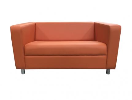 Диван, Мягкий офис, Аполло двухместный Экокожа Pegaso, оранжевый