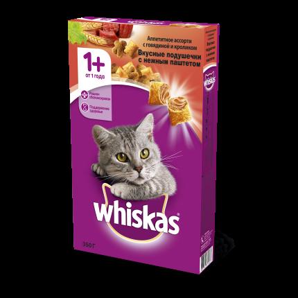 Сухой корм для кошек Whiskas, подушечки с паштетом, ассорти с говядиной и кроликом, 0,35кг