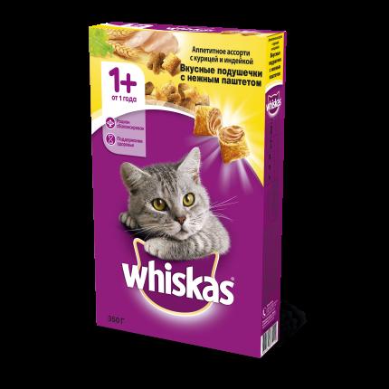 Сухой корм для кошек Whiskas, подушечки с паштетом, ассорти с курицей и индейкой, 0,35г