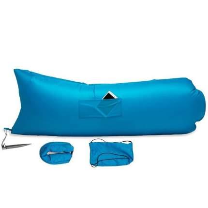 Надувной диван лежак Baziator P0070B1 с карманом и колышком 240x70 см голубой