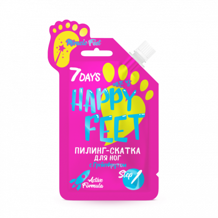 Пилинг-скатка для ног 7DAYS HAPPY FEET MIRACLE FEET! c Грейпфрутом, 25 г