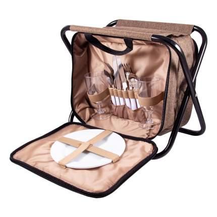 Набор для пикника на 2 персоны в сумке-стульчике, 33x23x25 см, арт. 130021