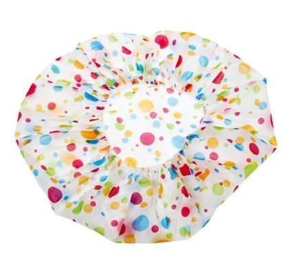 Шапочка DEWAL Beauty для душа без кружева, белая с цветным горохом DBH3