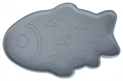 Коврик под миски для собак и кошек TRIXIE Рыбка, резиновый, серый, 35х22 см