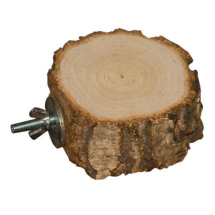 Полочка для птиц и грызунов ParrotsLab PL2061, деревянная круглая 8-12 см, высота 3х4 см