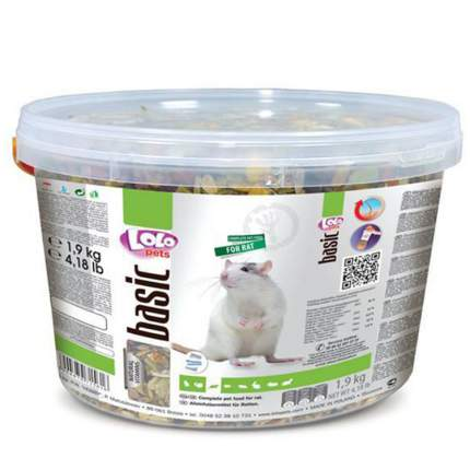 Корм для декоративных крыс LoloPet Basic, ведро, 1,9 кг