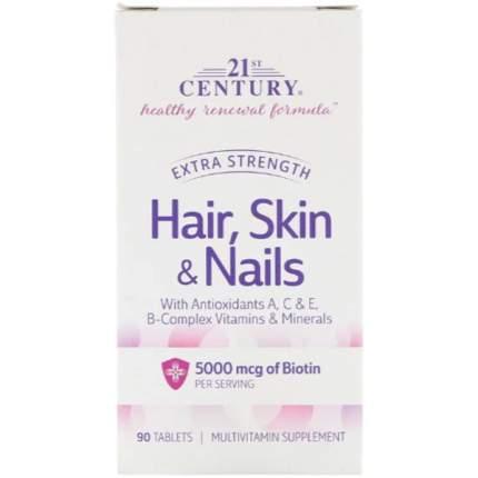 Витамины для волос 21st Century кожи и ногтей усиленная формула таблетки 90 шт.