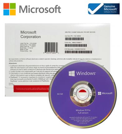 Операционная система Microsoft Windows 10 Pro Eng 64bit DVD Intl 1pk DSP OEI (FQC-08929-D)