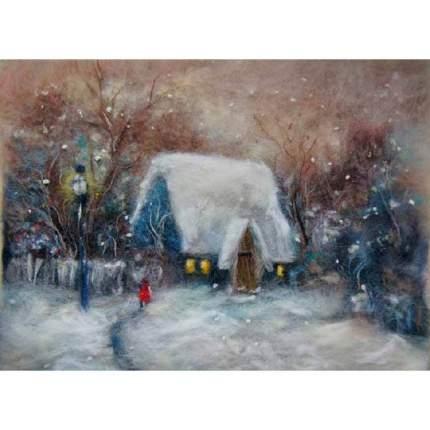 """Набор для валяния (живопись цветной шерстью) """"Зима"""" 21x29,7см (А4)"""