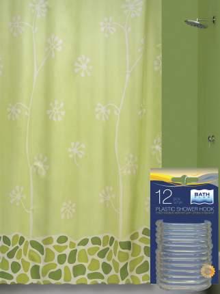 Штора для ванной и кольца комплект (Growing) зеленый ak21253/1-P