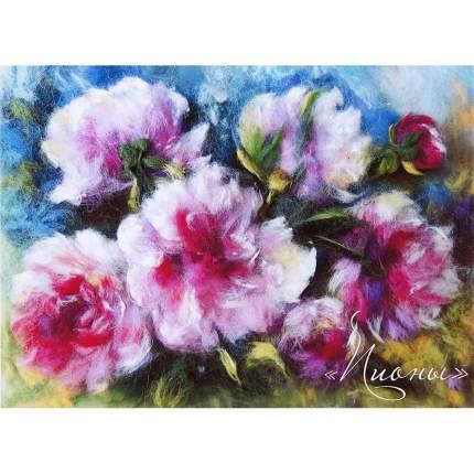 Набор для валяния (живопись цветной шерстью) Пионы 21x29,7см (А4)