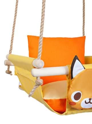 Качель подвесная с подушками Лиса на солнце, с ремнем безопасности на канате.